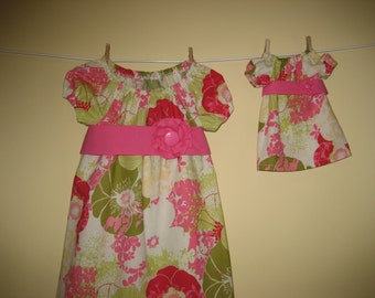 Matching Girl and American Girl Doll Clothes - Lots of Spring Flowers Peasant Dress