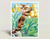 Persian Cat Art / Watercolor PRINT / Striped Persian long hair cat / Calico / Tabby cat painting / Animal art / Cat portrait CAT