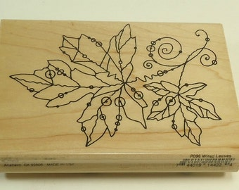 Wired Works Wired Leaves Wood Mounted Rubber Stamp By Stampendous P096