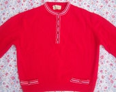 50s pin up sweater / BOBBIE BROOKS  red white pullover / lambs wool, stripey trim cute little buttons/ womens xs small