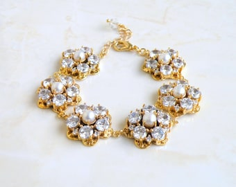 Wedding Jewelry Bridal Bracelet CZ Pearl Gold Bracelet GB2G