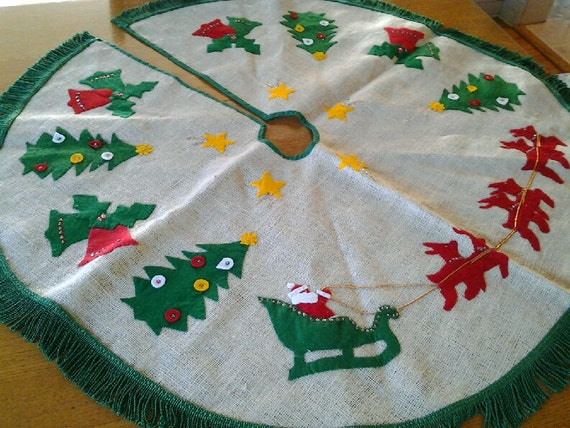 Vintage christmas tree skirt of felt and sequins on by