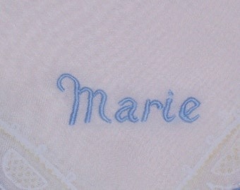 Vintage White Hanky with Marie Embroidered in One Corner -  Hankie Handkerchief