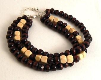 3 Strand Wood Bracelet, Brown And Light Wood Bracelet, Natural Wood Bracelet, Bohemian Stacking Dark Brown & Tan Bracelet (2076)