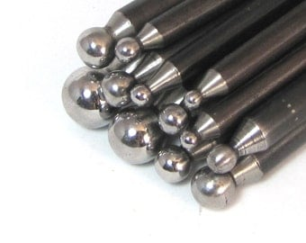 flaring punches, small dapping set, round dapping tools, dapping punches, 12 piece, size 14.50 mm to 3.5mm