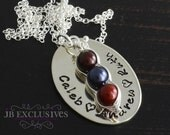 Hand stamped mommy necklace - 3 sweet peas in a pod - personalized - baby name and birthstone