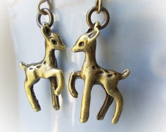 Baby Fawn Earrings in bronze little drop dangle earrings for women girls deer reindeer brass cute little animal earrings woodland fairy