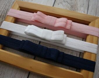 set of 3 elastic bow headbands - you pick colors