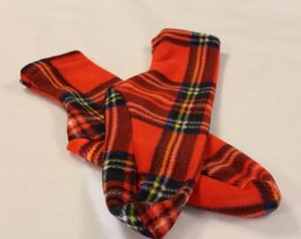 Women's Polar Fleece Socks or Slipper Socks Red Plaid