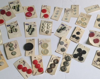 Lot of 30 New on Cards Vintage Buttons in Various Colors and Sizes