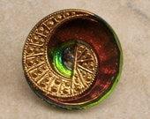Czech Glass Button, Swirl, Green, Pink, 22 mm, With Pendant Converter C348