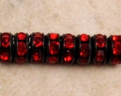 Rhinestone Rondelle, Jet Black, Light Siam Ruby Red, 7 mm, 12 Pc. C409-7