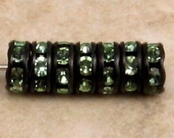 Rhinestone Rondelle, Jet Black, Peridot Green, 6 mm, 12 Pc. C342
