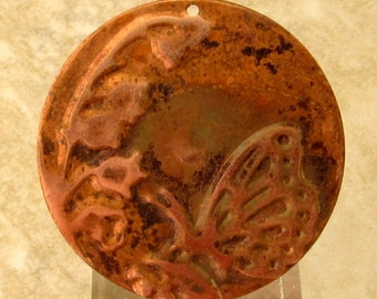 Embossed Copper Butterfly Pendant, 34 MM, E74