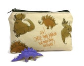 Firefly Wash Dino Friends Pouch / Small Zipper Bag in Curse Your Betrayal Print