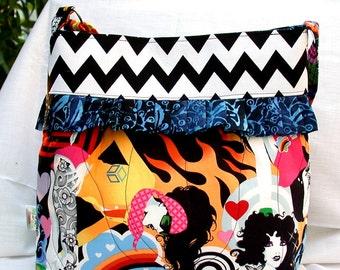 INKED -Alexander Henry- Retro-Hobo-Multi color-Patchwork-Shoulder Bag-Messenger--BagZGirl- Large-Retro Girls-