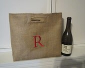 Not Your Usual Wine Bag Personalized Burlap holds Two Bottles Chevron Zig Zag
