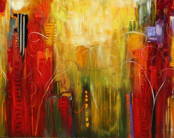 Colorful abstract red painting  original art lauren marems