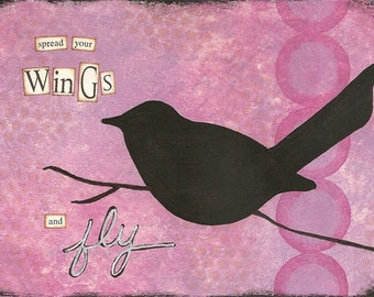 spread your wings - 5 x 7 ORIGINAL COLLAGE by Nancy Lefko