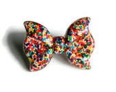 Sprinkles Bow Ring, Rainbow Resin, Kawaii Lolita, Candy Jewelry, Adjustable