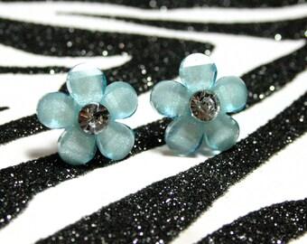 Blue Daisy Earrings, Light Blue Flower Studs, Floral Rhinestone Earrings