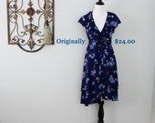 Blossom Wrap Dress in Navy