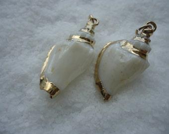 Gold Trimmed White Lettered Cone Seashell Pendant
