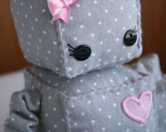 Girly Polka Dot Robette The Plush Robot