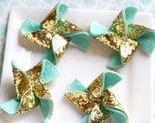 Felt Pinwheel Gold Glitter Pinwheel Wool Felt Flower Pinwheel Chunky Gold Glitter and Mint 4 Total