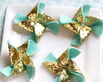 Felt Pinwheel Gold Glitter Pinwheel Wool Felt Flower Pinwheel Chunky Gold Glitter and Mint 4 Total