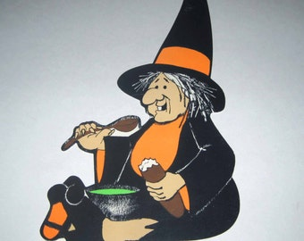 Vintage Orange and Black Witch Eating Halloween Decoration or Die Cut