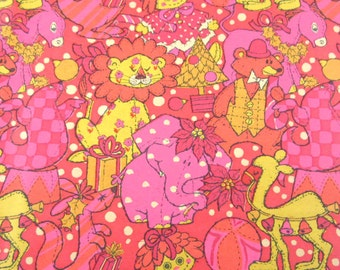 Vintage Pink Yellow Orange Christmas Wrapping Paper or Gift Wrap with Toys Stuffed Animals Dolls Presents Trees