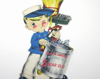 Vintage Unused Over Sized Stand Up Children's Fifth Birthday Greeting Card with Chimney Sweep Boy
