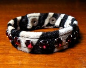 Animal print cuff zebra print with red rhinestones bracelet 90s faux fur cuff black white goth club kid
