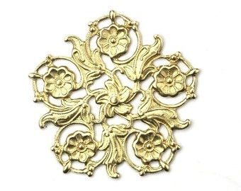 Stampings Floral Filigree Ornate Flower Details Raw Brass 31mm (1) FI662
