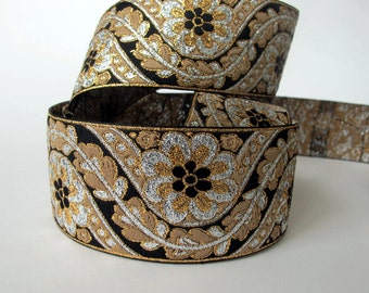 BENGAL Jacquard trim in beige, gold, silver, on black. 2 inches wide. 729-C