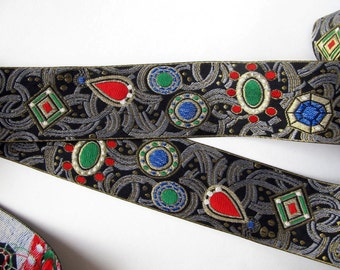 2 yards JEWELS wide Jacquard trim. Ruby red, emerald green, sapphire blue, white, gold, on charcoal and black. 2 inch wide. 971-A