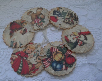Handmade Christmas Gift Tags - Vintage Style Collage - Old Fashioned Holiday