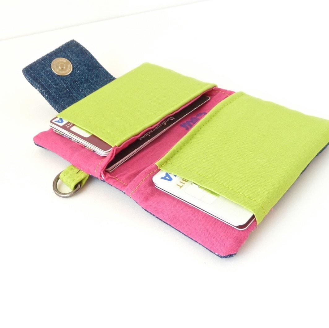 womens wallet. denim credit card organizer. teen by ...