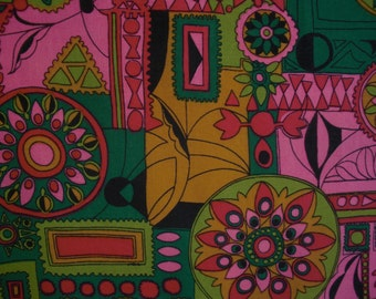 Vintage 60s Abstract Print Fabric