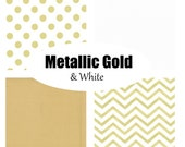Custom Crib Bedding-Metallic Gold and White