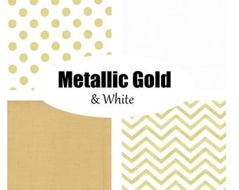 Custom Crib Bedding-Metallic Gold and White