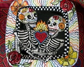Custom Skeleton Lovers Ceramic Platter Full Color Glazes Your Choice of Design Options