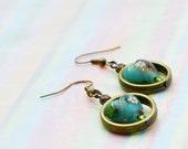 Tiny Blue Millefiori & Gold Flake Heart Earrings