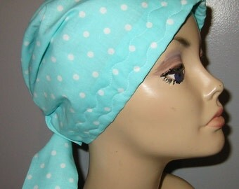 FREE SHIP USA White Dots onTurquoise, Chemo Cap,  Surgical Scrub Hat, Cancer, Chemo Hat, Turban, Hair Loss