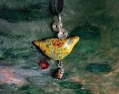 Yellow Bird Polymer Clay Pendant / Necklace