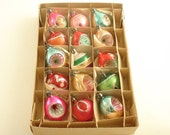 Vintage Glass Christmas Ornaments Box Feather Tree Indents