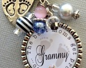 Pregnancy announcement- First time grandma, New Grandma Keychain, new aunt, footprints, baby shower, best moms get promoted to grandma stork
