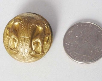 Vintage Antique Brass Button marked Eingetr Muster: Greyhounds and Cross