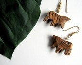 Zebra Earrings - Tiny, Wooden, Stripes, Animals, Tribal